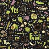 Teste padrão sem emenda do vetor Ketogenic do alimento, esboço Alimento saudável do keto - gorduras, proteínas e carburadores no  ilustração royalty free