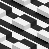 Teste padrão sem emenda do vetor listrado dos montes do quadrado 3D Foto de Stock Royalty Free