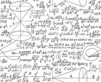 Teste padrão sem emenda do vetor matemático com figuras e cálculos Fotos de Stock Royalty Free