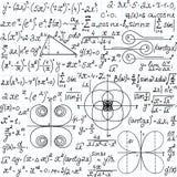Teste padrão sem emenda do vetor matemático com figuras geométricas, lotes e equações, escritos à mão no papel do caderno da grad Imagem de Stock Royalty Free