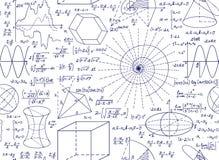 Teste padrão sem emenda do vetor matemático com lotes, figuras e fórmulas Fotografia de Stock Royalty Free