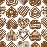 Teste padrão sem emenda do vetor do Natal com as cookies congeladas do coração do pão-de-espécie ilustração royalty free