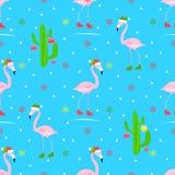 Teste padrão sem emenda do vetor do Natal do flamingo, pista da patinagem no gelo, patins Imagens de Stock