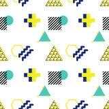 Teste padrão sem emenda do vetor no estilo 90s Formas geométricas do triang ilustração stock