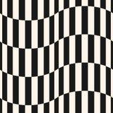 Teste padrão sem emenda do vetor preto e branco das listras Linhas verticais, formas onduladas Foto de Stock Royalty Free
