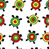 Teste padrão sem emenda do vetor Rastamanka das tartarugas da cor isolado em um fundo transparente fotografia de stock