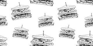 Teste padrão sem emenda do vetor, sanduíches tirados mão do esboço, ilustração do fast food, fundo ilustração stock