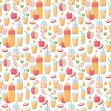 Teste padrão sem emenda do vetor do suco de maçã ilustração stock