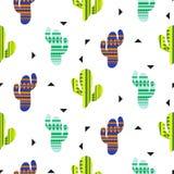Teste padrão sem emenda do vetor tribal dos cactos Cópia mexicana de matéria têxtil dos cactos da cor do estilo Imagens de Stock Royalty Free