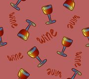 Teste padrão sem emenda do vinho Vidros de vinho bebidas coloridas conceptuais do álcool que repetem o fundo para a Web e a final ilustração royalty free