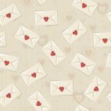Teste padrão sem emenda do vintage com cartas de amor Fotografia de Stock Royalty Free