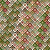 Teste padrão sem emenda do vintage com elementos dos retalhos da telha Fotos de Stock Royalty Free