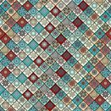 Teste padrão sem emenda do vintage com elementos dos retalhos da telha Foto de Stock Royalty Free