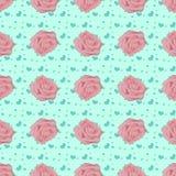 Teste padrão sem emenda do vintage com rosas cor-de-rosa Ilustração do Vetor