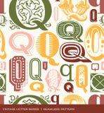 Teste padrão sem emenda do vintage da letra Q em cores retros Fotografia de Stock Royalty Free