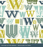 Teste padrão sem emenda do vintage da letra w em cores retros Imagens de Stock