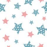 Teste padrão sem emenda do vintage delicado do vetor com estrelas Ilustração do Vetor
