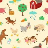 Teste padrão sem emenda do vintage do animal de exploração agrícola Ilustração do Vetor