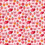 Teste padrão sem emenda do vintage do Valentim bonito Imagem de Stock