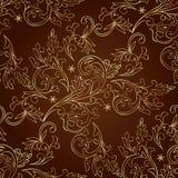 Teste padrão sem emenda do vintage floral no fundo marrom Imagens de Stock Royalty Free