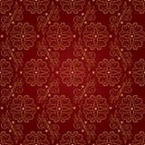 Teste padrão sem emenda do vintage floral no fundo vermelho Fotos de Stock Royalty Free