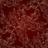 Teste padrão sem emenda do vintage floral vermelho do ouro Foto de Stock