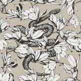 Teste padrão sem emenda do vintage Ilustração tirada mão da tinta Serpente e ilustração do vetor