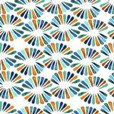 Teste padrão sem emenda do watercolour com as 3 flores retros das cores Fotos de Stock Royalty Free