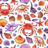 Teste padrão sem emenda do watercolour marinho no estilo realístico no fundo branco Vida subaquática marinha Ilustração imagens de stock royalty free