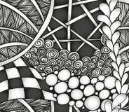 Teste padrão sem emenda do zentangle monocromático abstrato Imagens de Stock Royalty Free