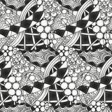 Teste padrão sem emenda do zentangle monocromático abstrato Fotografia de Stock Royalty Free