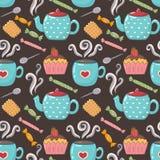 Teste padrão sem emenda doce do chá Imagens de Stock Royalty Free