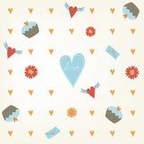 Teste padrão sem emenda doce do dia de Valentim Fundo da telha com queques e flores dos corações Textura tirada mão do papel de e Imagem de Stock Royalty Free