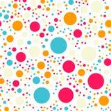 Teste padrão sem emenda dos às bolinhas coloridos no preto 18 Fotografia de Stock Royalty Free