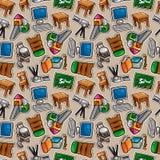 Teste padrão sem emenda dos ícones da escola dos desenhos animados Foto de Stock Royalty Free