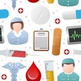 Teste padrão sem emenda dos ícones da medicina ilustração do vetor