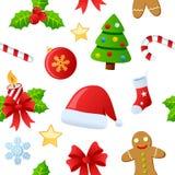 Teste padrão sem emenda dos ícones do Natal Fotos de Stock Royalty Free