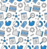 Teste padrão sem emenda dos ícones dos meios sociais Foto de Stock Royalty Free