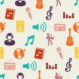 Teste padrão sem emenda dos ícones lisos da música Fotografia de Stock Royalty Free