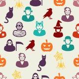 Teste padrão sem emenda dos ícones lisos de Dia das Bruxas Imagens de Stock Royalty Free
