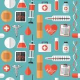 Teste padrão sem emenda dos ícones médicos lisos ilustração do vetor