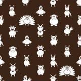Teste padrão sem emenda dos ícones simples dos animais de exploração agrícola Fotografia de Stock Royalty Free
