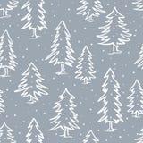 Teste padrão sem emenda dos abeto do pinho da garatuja do inverno Imagem de Stock Royalty Free