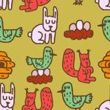 Teste padrão sem emenda dos animais da floresta do desenho das crianças Ornam dos coelhos ilustração do vetor