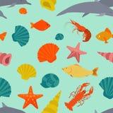 Teste padrão sem emenda dos animais de mar Estilo liso do vetor Imagens de Stock Royalty Free
