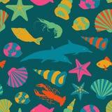 Teste padrão sem emenda dos animais de mar Estilo liso do vetor Imagem de Stock Royalty Free