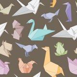 Teste padrão sem emenda dos animais de Origami Imagem de Stock Royalty Free