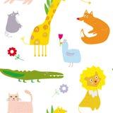 Teste padrão sem emenda dos animais, projeto engraçado, ilustração gráfica Imagem de Stock Royalty Free
