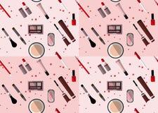 Teste padrão sem emenda dos artigos da composição em cores cor-de-rosa e marrons Imagens de Stock