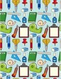 Teste padrão sem emenda dos artigos de papelaria dos desenhos animados Foto de Stock
